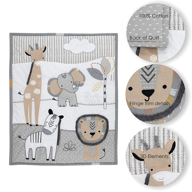 Amazon.com: Lambs & Ivy Jungle Safari Gray/Tan/White Nursery ...
