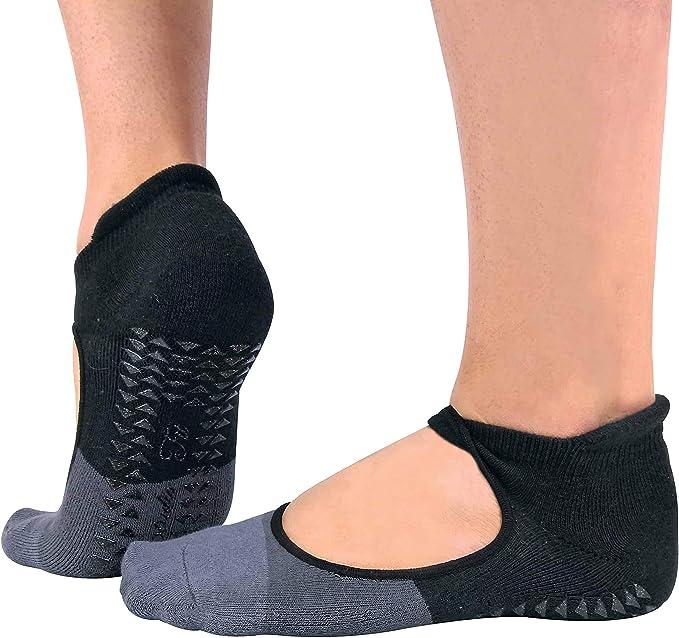 Sock Snob 2 Pares Mujer Algodon Tobillero Invisibles Antideslizantes Calcetines para Yoga y Pilates con Alto Talon (37/42, Black): Amazon.es: Ropa y accesorios