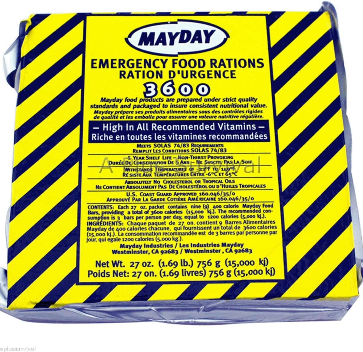 9 Meals 3 Day 3600 Calorie Emergency Survival Food Bar Ration Car Kit Bug Out