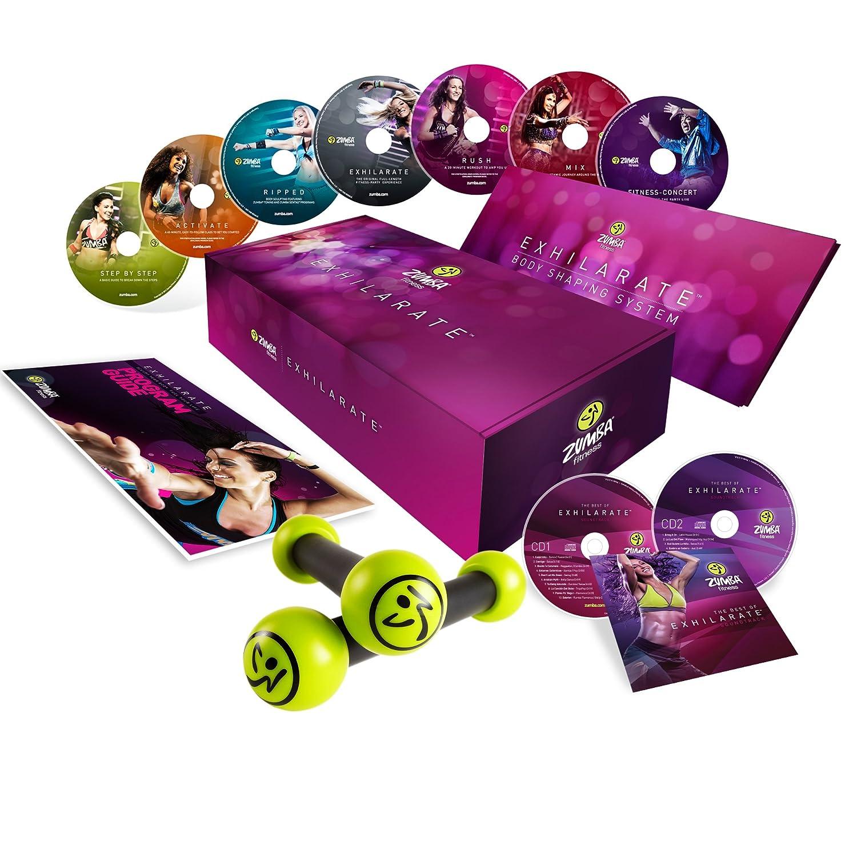 Zumba Fitness® Juego de 7 DVDs, 2 CDs y 2 mancuernas para entrenamiento de Zumba (en inglés y francés): Amazon.es: Deportes y aire libre