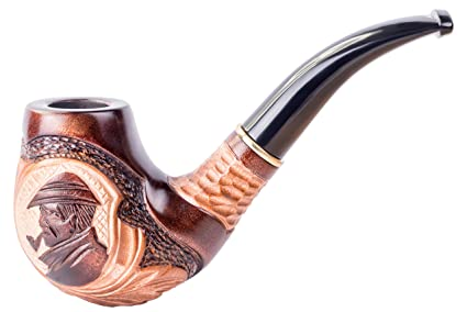 Dr Watson - Tobacco Smoking Pipe - Sherlock Holmes - Hand Carved, Pear Wood  (9mm Filter) + Branded Pouch (Holmes)