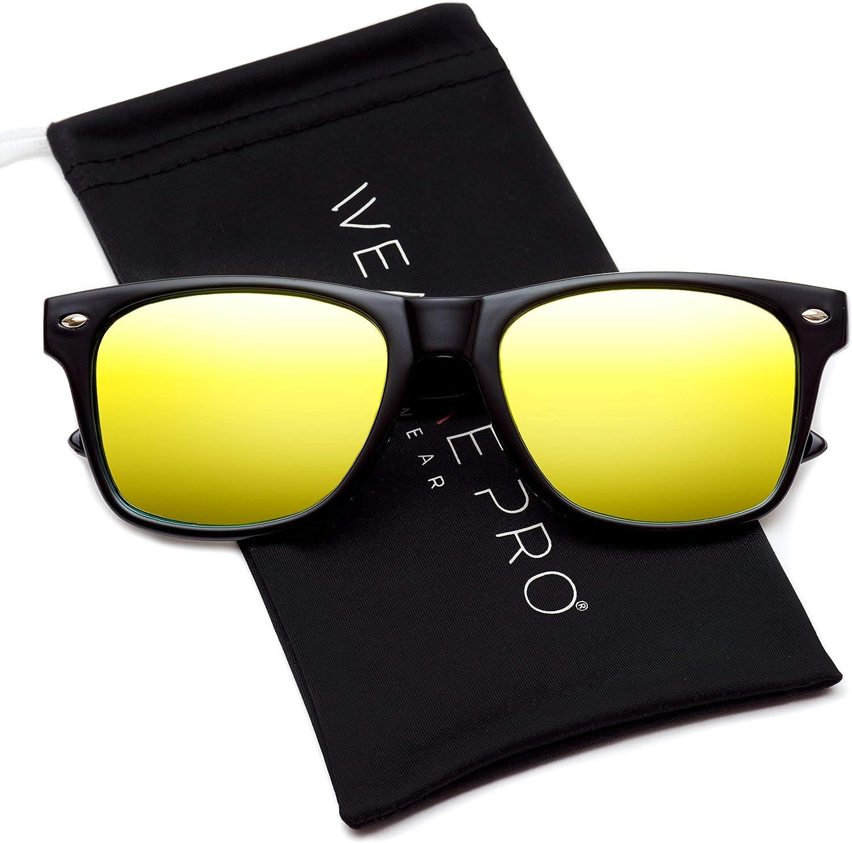 WearMe Pro Polarizadas soporte de espejo reflectante Revo estilo gafas de sol con borde color lente gran cuerno
