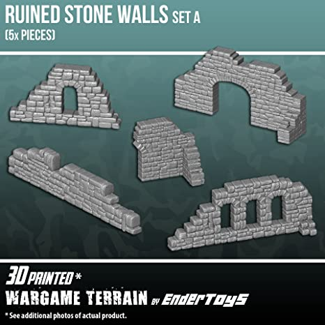 image about 3d Printable Terrain named Broken Stone Partitions Fixed A, Terrain Surroundings for Tabletop 28mm Miniatures Wargame, 3D Published and Paintable, EnderToys