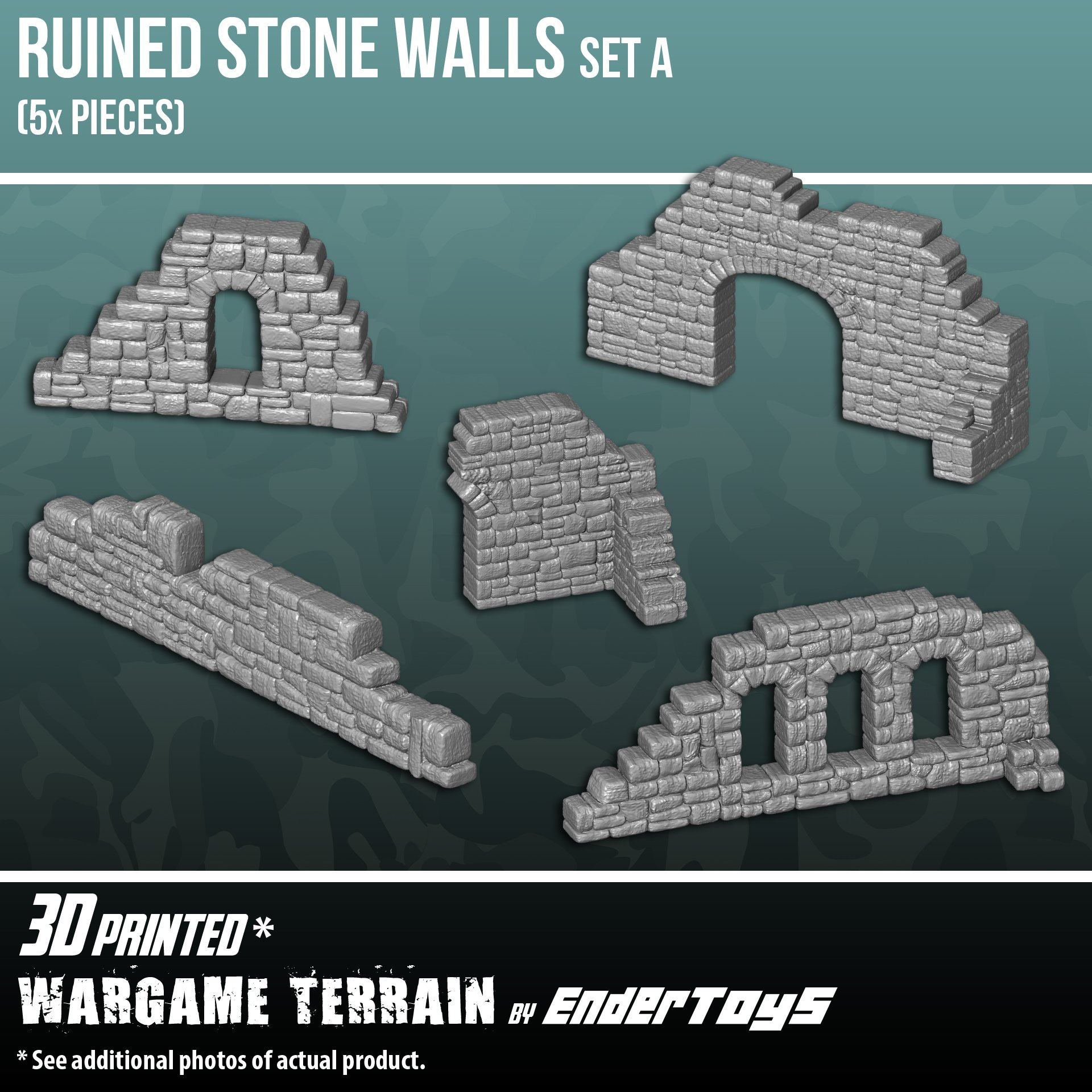 Ruined Stone Walls Set A, Terrain Scenery for Tabletop 28mm Miniatures Wargame, 3D Printed and Paintable, EnderToys