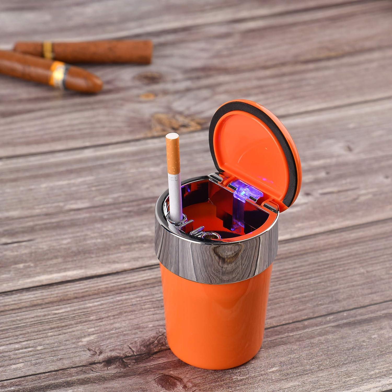 1892-05 Mod Posacenere rotondo da auto // a prova di vento in acciaio e materiale sintetico ABS adatto per portabicchieri in macchina con coperchio ed illuminazione colore: arancione
