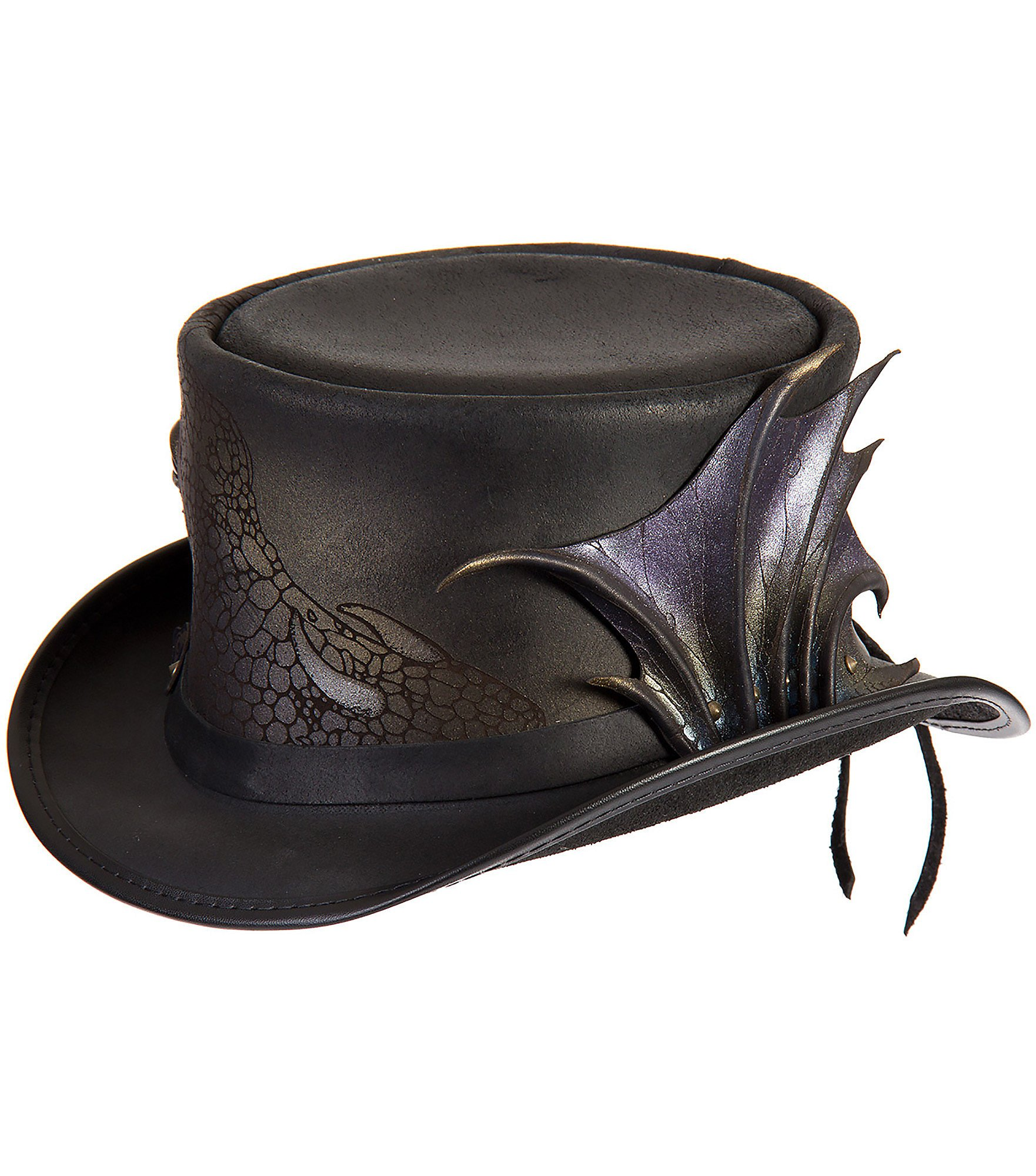 Overland Sheepskin Co. Steampunk Draco Leather Top Hat, Black, Size Large (7 3/8)