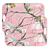 """DII, Real Tree Serving Tray, Melamine, Set of 2, 18x13"""", Pink Camo"""