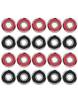 20 Piezas Cojinetes de Skate 608 2RS Rodamientos de Patines de Rueda y Longboard, Doble Blindado, Rojo y Negro: Amazon.es: Deportes y aire libre