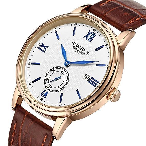 Relojes para hombre marca superior lujo original reloj impermeable de cuero de zafiro calendario relojes: GQ: Amazon.es: Relojes