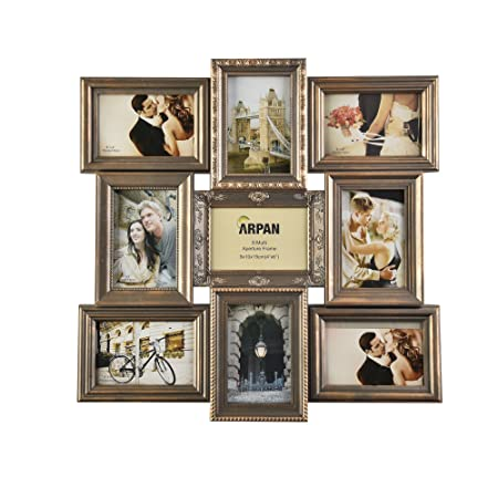 Vintage Gold Multi Aperture Picture Photo Frame, Holds 9 x 6x4 ...