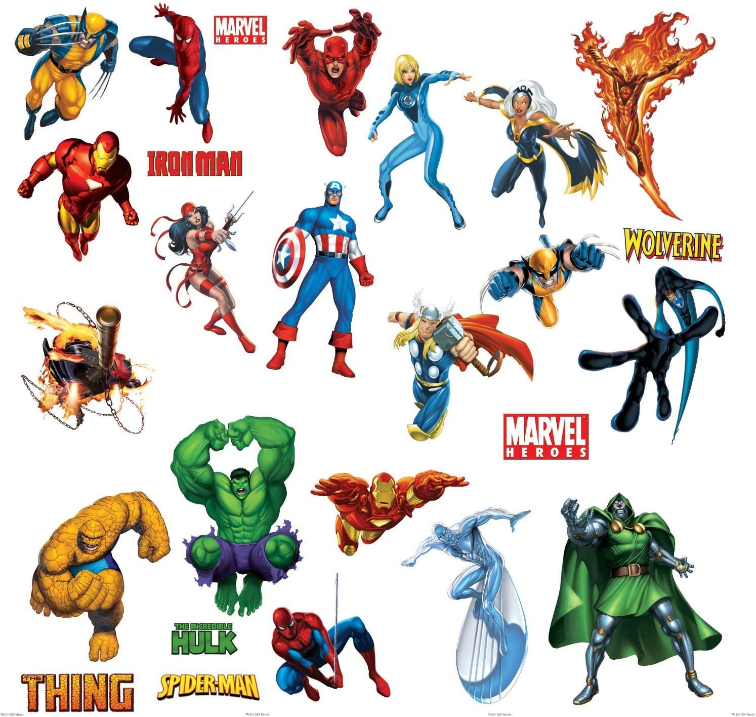 Marvel Heroes Comic - Spider-man, Captain America, Hulk, Fantastic 4, Thing, Thor, Wolverine, Ironman, Ghost Rider Wall Decal