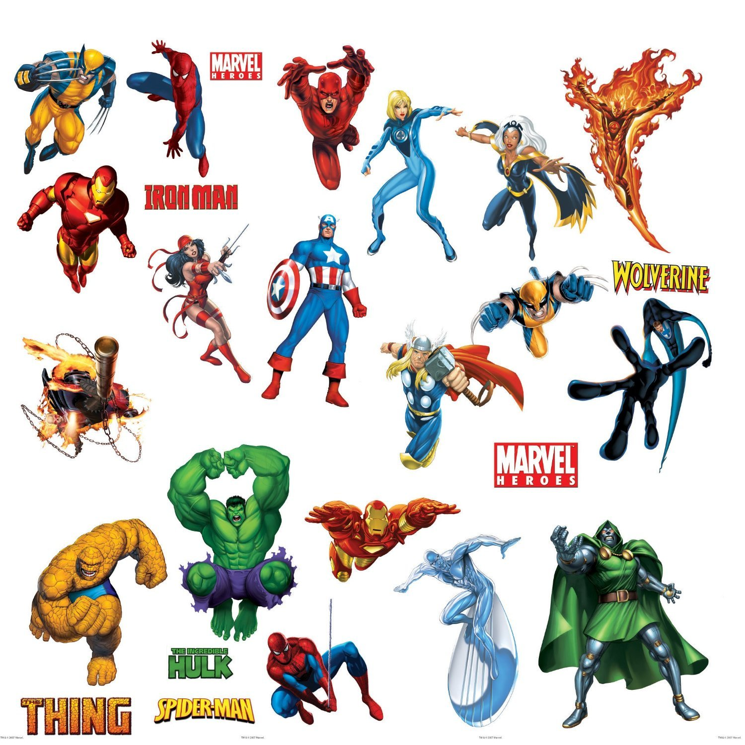 Marvel Heroes Comic - Spider-man, Captain America, Hulk, Fantastic 4, Thing, Thor, Wolverine, Ironman, Ghost Rider Wall Decal by Marvel Movies