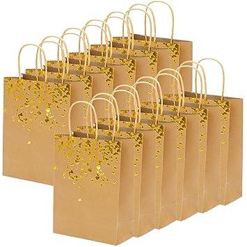 Keriber 18 Piezas Bolsas de Papel Bronceado Bolsa Kraft Bolsas de Fiesta de gallina Regalo de la Novia Bolsa de cumpleaños con asa para Fiestas de ...
