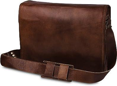 Mens Vintage Leather Messenger Business Laptop Briefcase Satchel Bag handmade