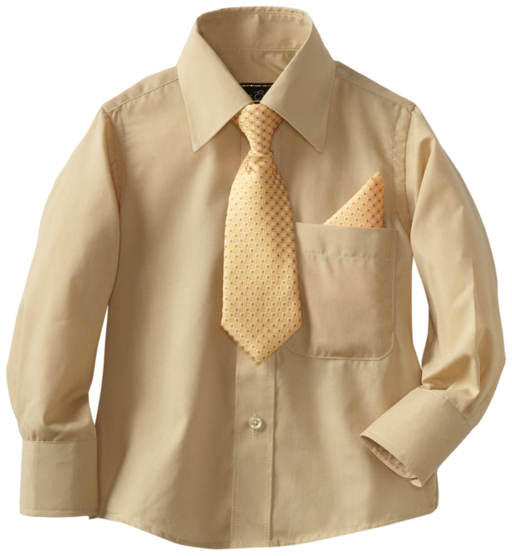 American Exchange Little Boys' Little Dress Shirt With Tie And Pocket Square, Gold, 5