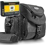 Kit Mantona Premium System Tasche schwarz mit  PATONA Akku für Canon LP-E10 - zu Canon EOS 4000D 2000D 1300D 1200D 1100D