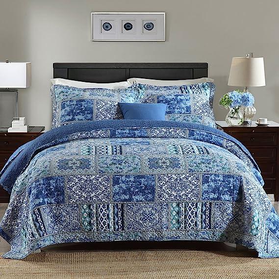 Newlake Cotton Bedspread Quilt Sets Reversible Patchwork Coverlet Set Blue Classic Bohemian Pattern Queen Size Home Kitchen Amazon Com