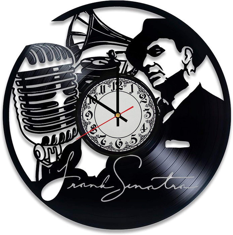 Frank Sinatra Wall Clock Vinyl Wall Clock Art Gift Room Modern Home Record Vintage Decoration Gift for Fans Frank Sinatra Home & Office Bedroom Nursery Room Wall Decor