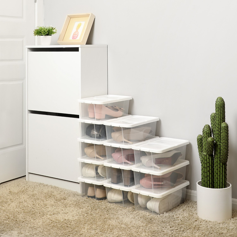Juego de 12 cajas transparentes con tapa. Muy útiles para calzado, juguetes o complementos.