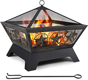 Amagabeli Fire Pit Outdoor Wood Burning 24in Firebowl Fireplace Poker Spark Screen Retardant Mesh Lid Extra Deep Large Square Outside Backyard Deck Heavy Duty Metal Grate Rustproof Bronze
