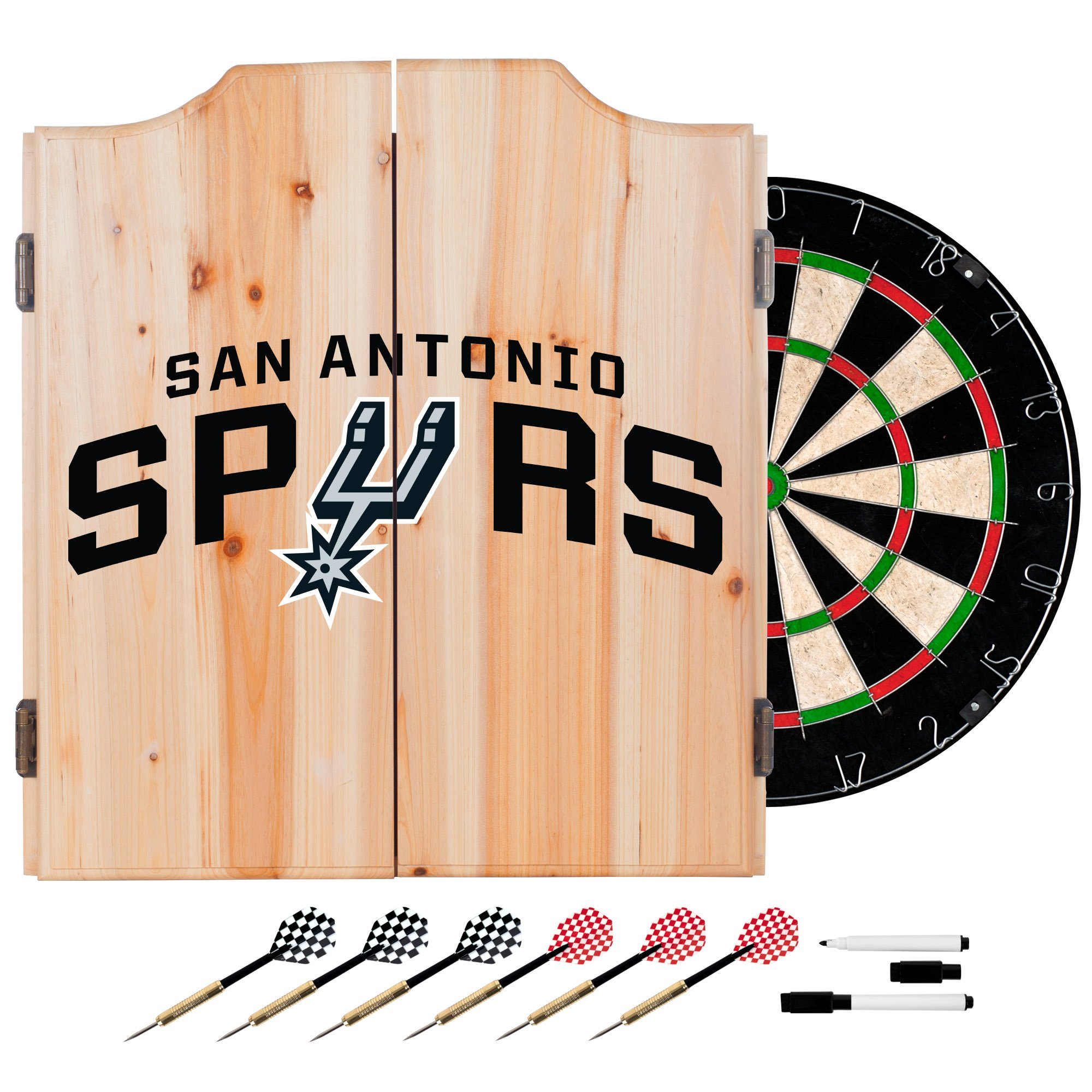 Trademark Gameroom NBA San Antonio Spurs Wood Dart Cabinet Set