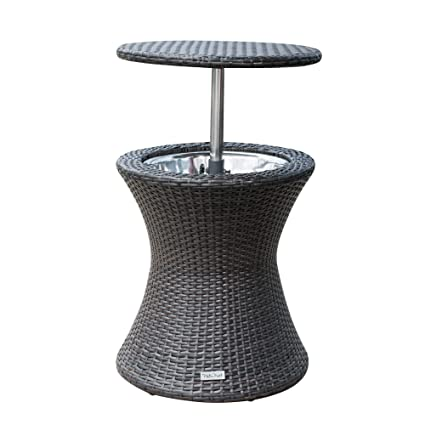 PatioPost Cool Table PE Wicker Style Outdoor Patio Pool Cooler Bar, Brown - Amazon.com: PatioPost Cool Table PE Wicker Style Outdoor Patio Pool