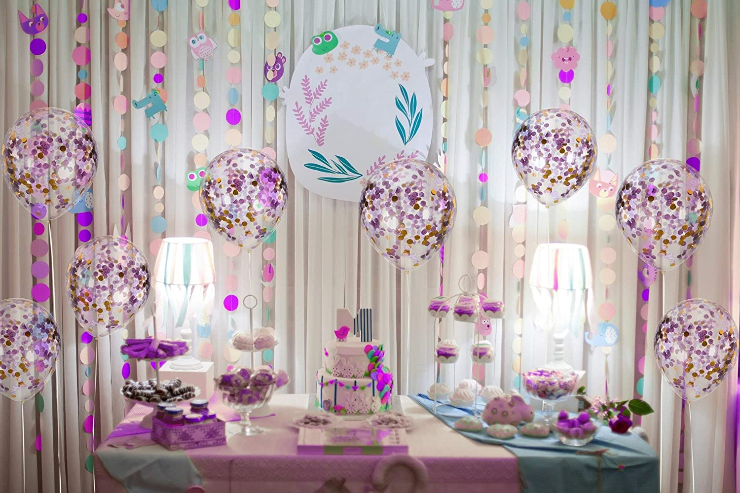 ec538af40 Amazon.com: Treasures Gifted Unicorn Purple and Gold Confetti Balloons  Bouquet for Bridal Shower Mermaid Birthday Wedding Graduation Anniversary  Party ...