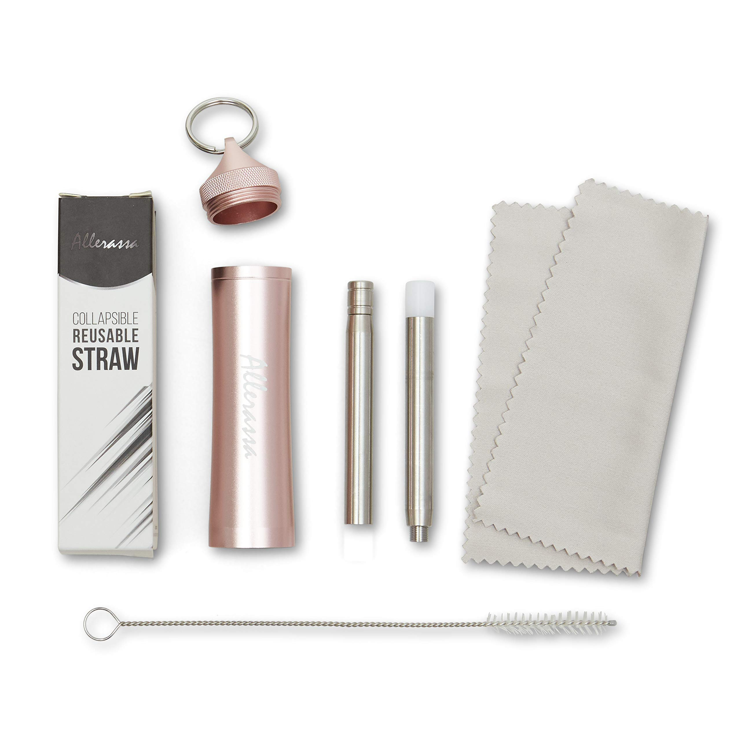 Collapsible Stainless Steel Straw with Travel Case (Rose Gold) by Alerassa