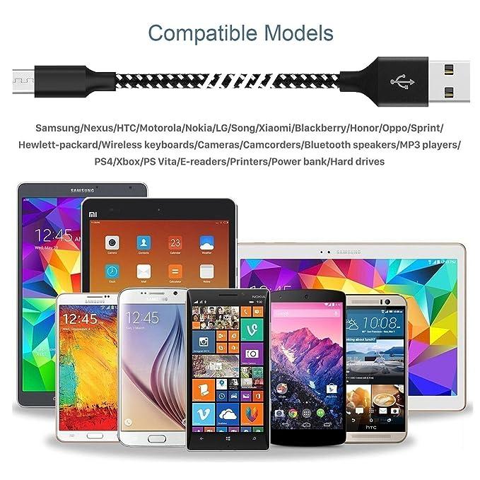 Amazon.com: Xiandan Cable Micro USB, pack de 4 3 ft 6 ft 6 ...