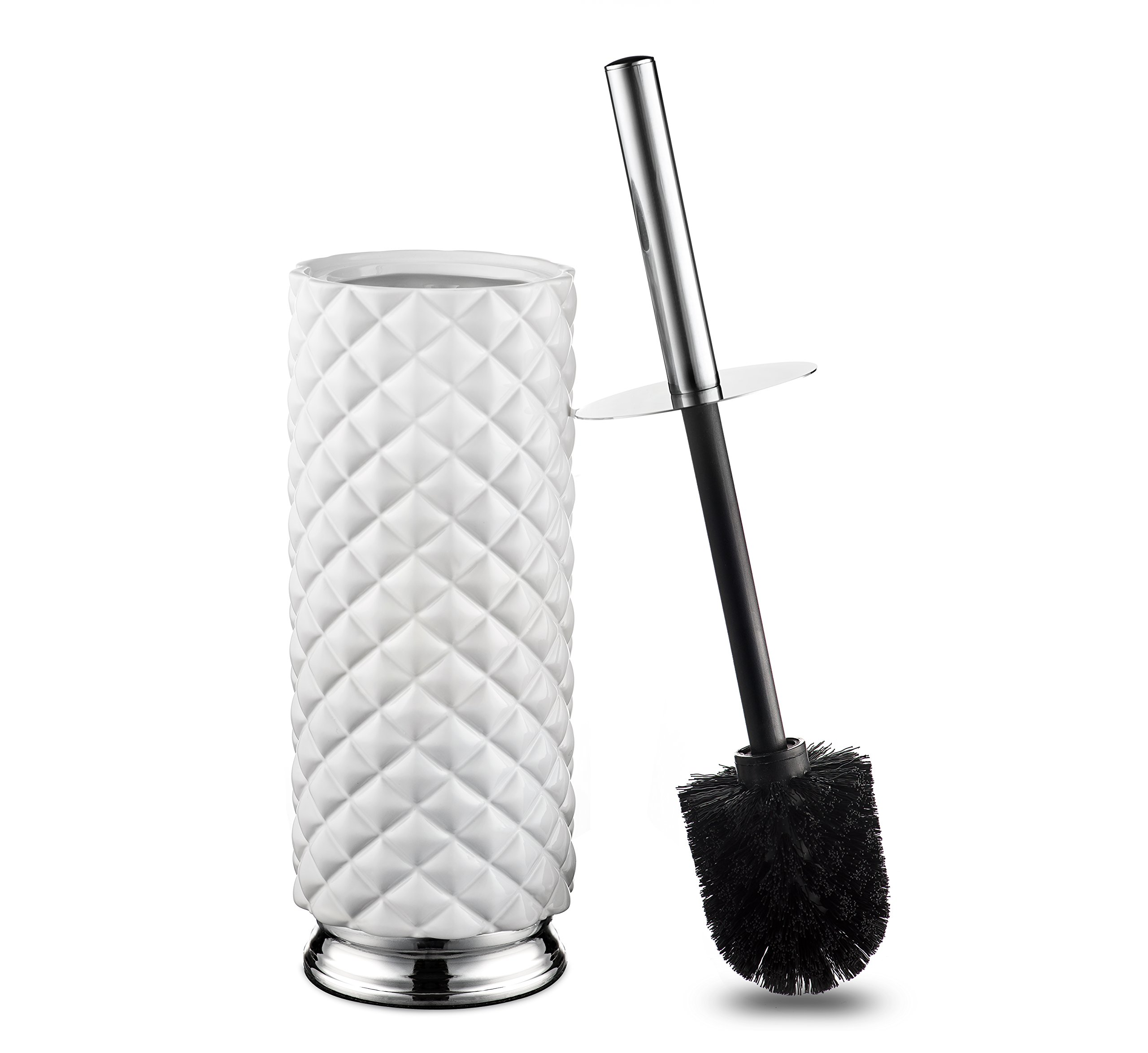 AMG and Enchante Accessories Toilet Brush and Ceramic Holder, TB118A WHT, White