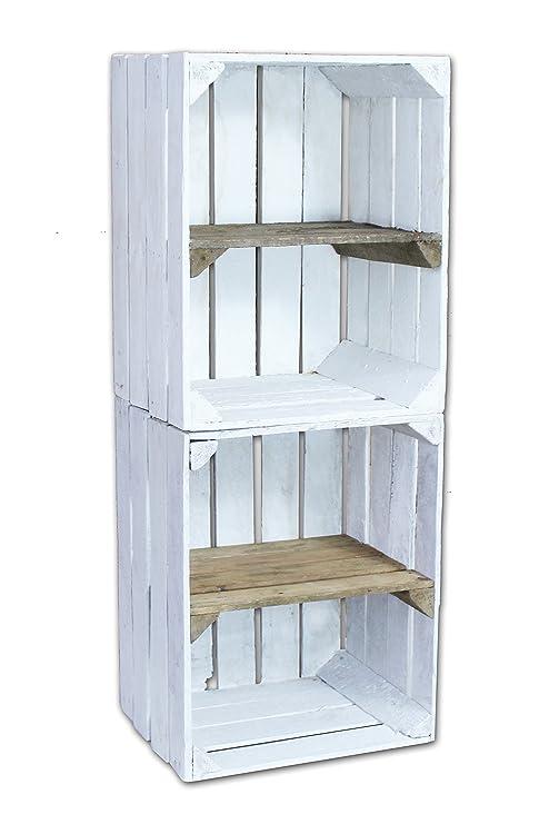 2 pieza blanca madera cajas – – Frutas Cajas de vino con entre Estantería de Crone