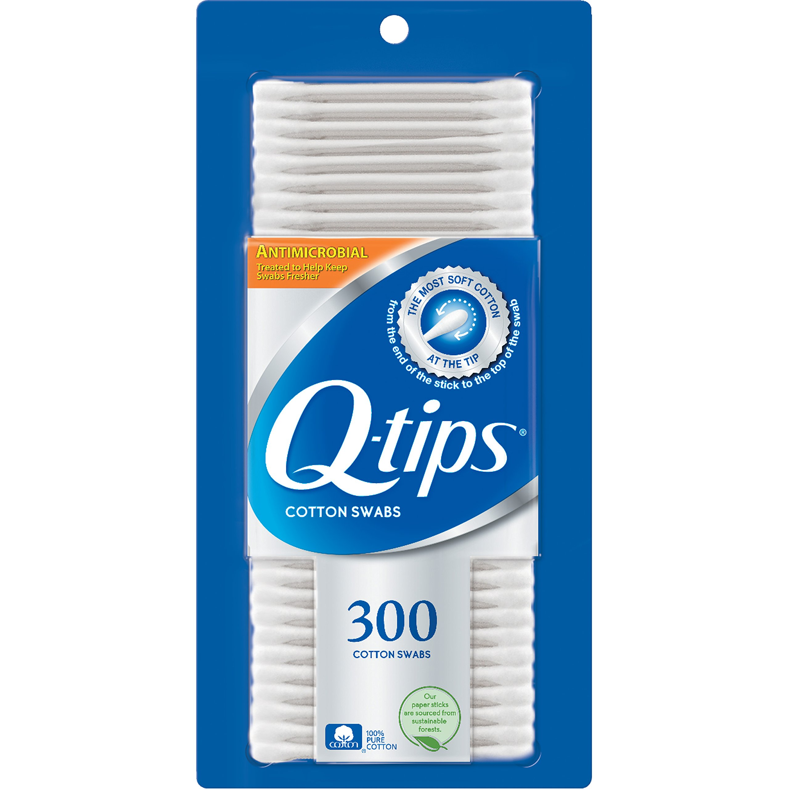 Q-tips Cotton Swabs, Anti-Bacterial, 300 ct (Pack of 8)