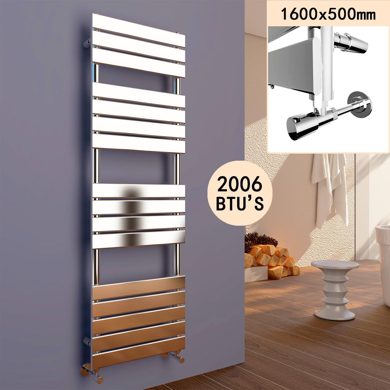 ELEGANT 800 x 500 Chrome Designer Flat Panel Towel Rail Radiator Bathroom Heated