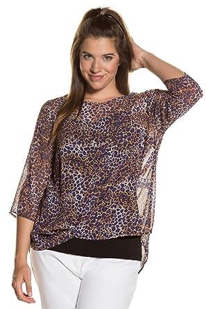 33701198685 Ulla Popken Women s Plus Size Leopard Print Sheer Blouse Multi 32 34 712253  90-