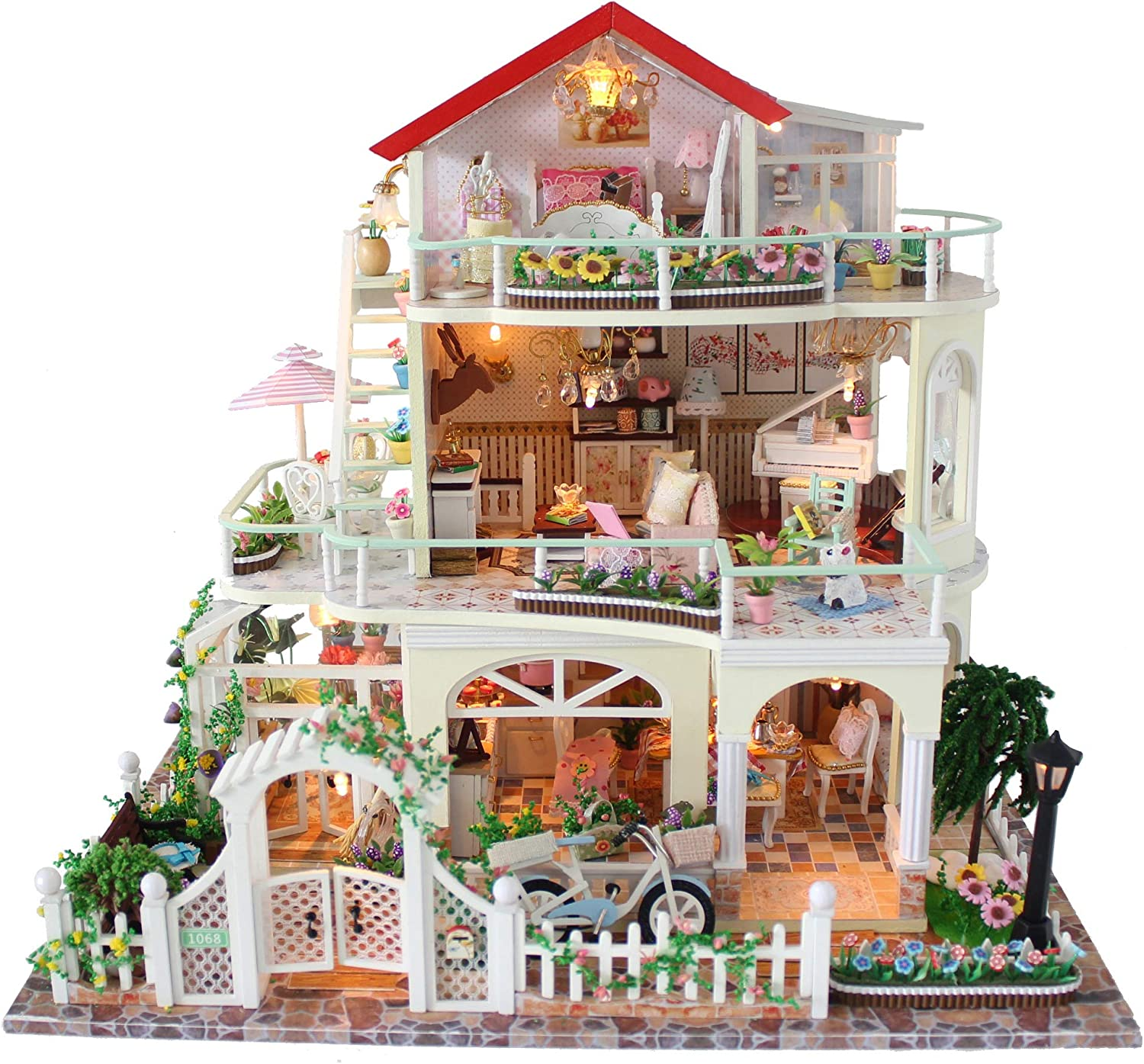 Flever Dollhouse Miniature DIY House Kit Creative Room with Furniture for Romantic Valentine's Gift (Be Enjuring As The Universe)