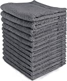 Utopia Towels Luxury Cotton Washcloths Towel Set (12 Pack, Grey, 12 x 12 Inches) Multi-purpose Extra Soft Fingertip Towels, Highly Absorbent Face Cloths, Machine Washable Sport and Workout Towels