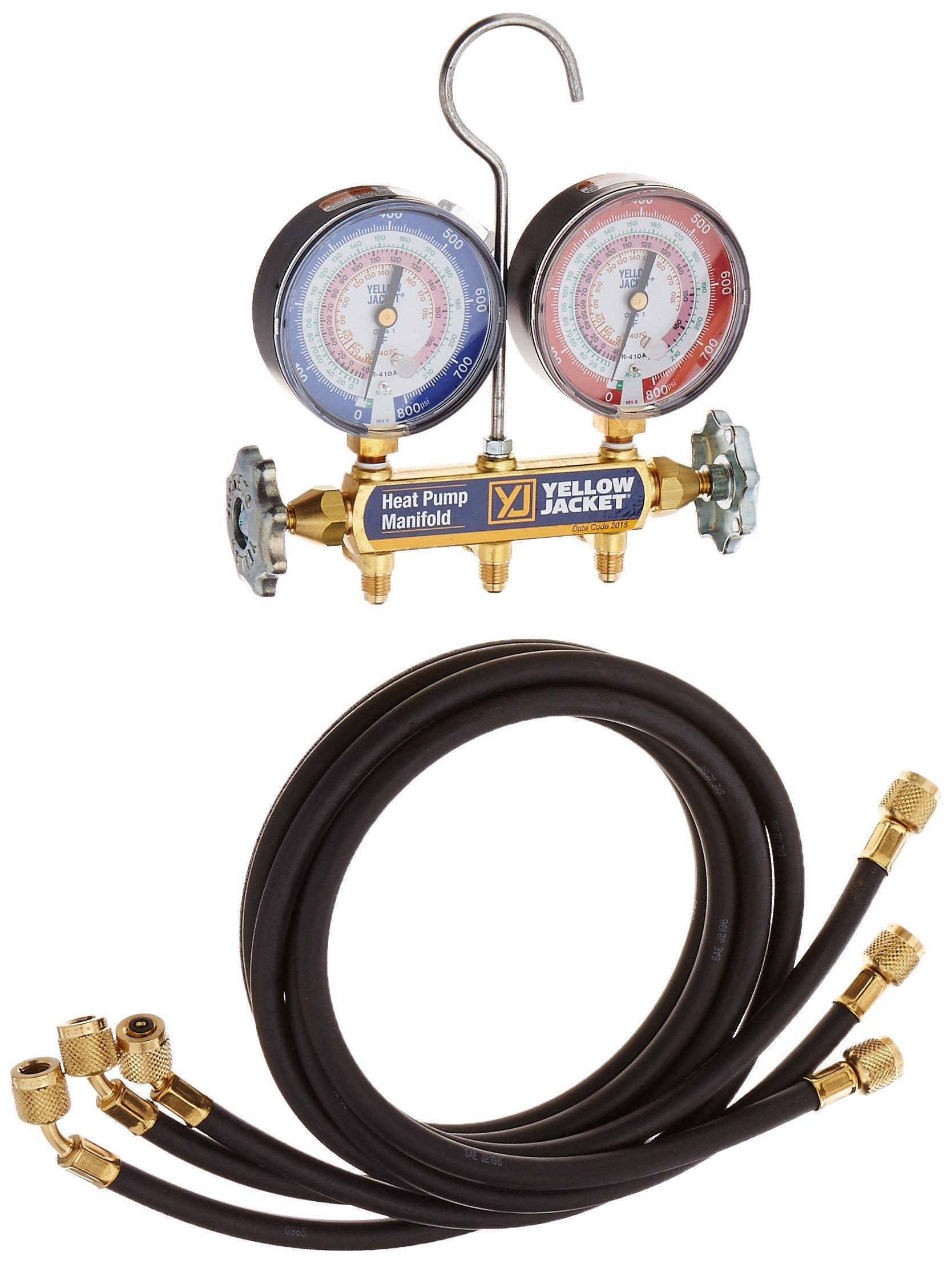 Yellow Jacket 42044 Heat Pump Manifold with 60'' Black Plus II 1/4'' Hoses, R-22/407C/410A