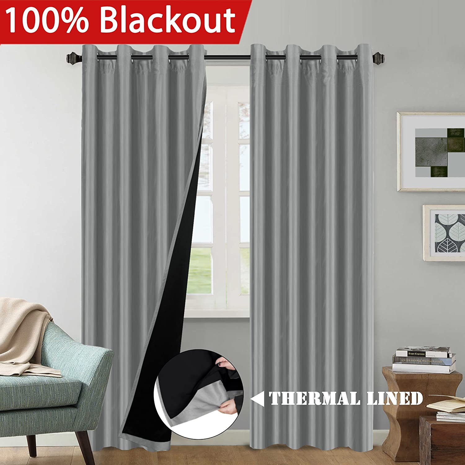 ece5e8053741f5 H.VERSAILTEX Premium Full Blackout Curtains Elegant Faux Silk Lined Grey  Curtains (2 Panels), Thermal Insulated Heavy-Duty Full Light Shading Drapes  for ...