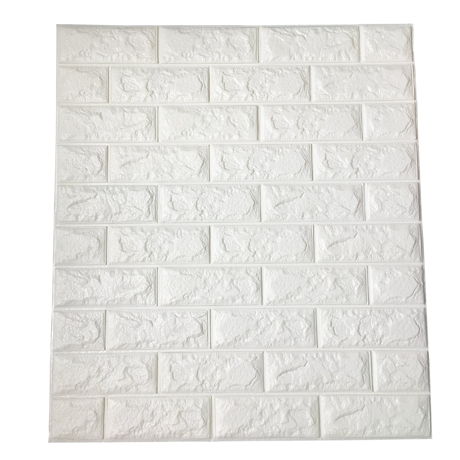 64 Sq.Ft Peel and Stick 3D Wall Panels for Interior Wall Decor, White Brick Wallpaper, Pack of 11