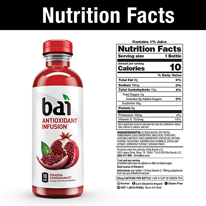 Bai Flavored Water Ipanema Pomegranate Antioxidant Infused Drinks 18 Fluid Ounce Bottles 12 Count Amazon Com Grocery Gourmet Food