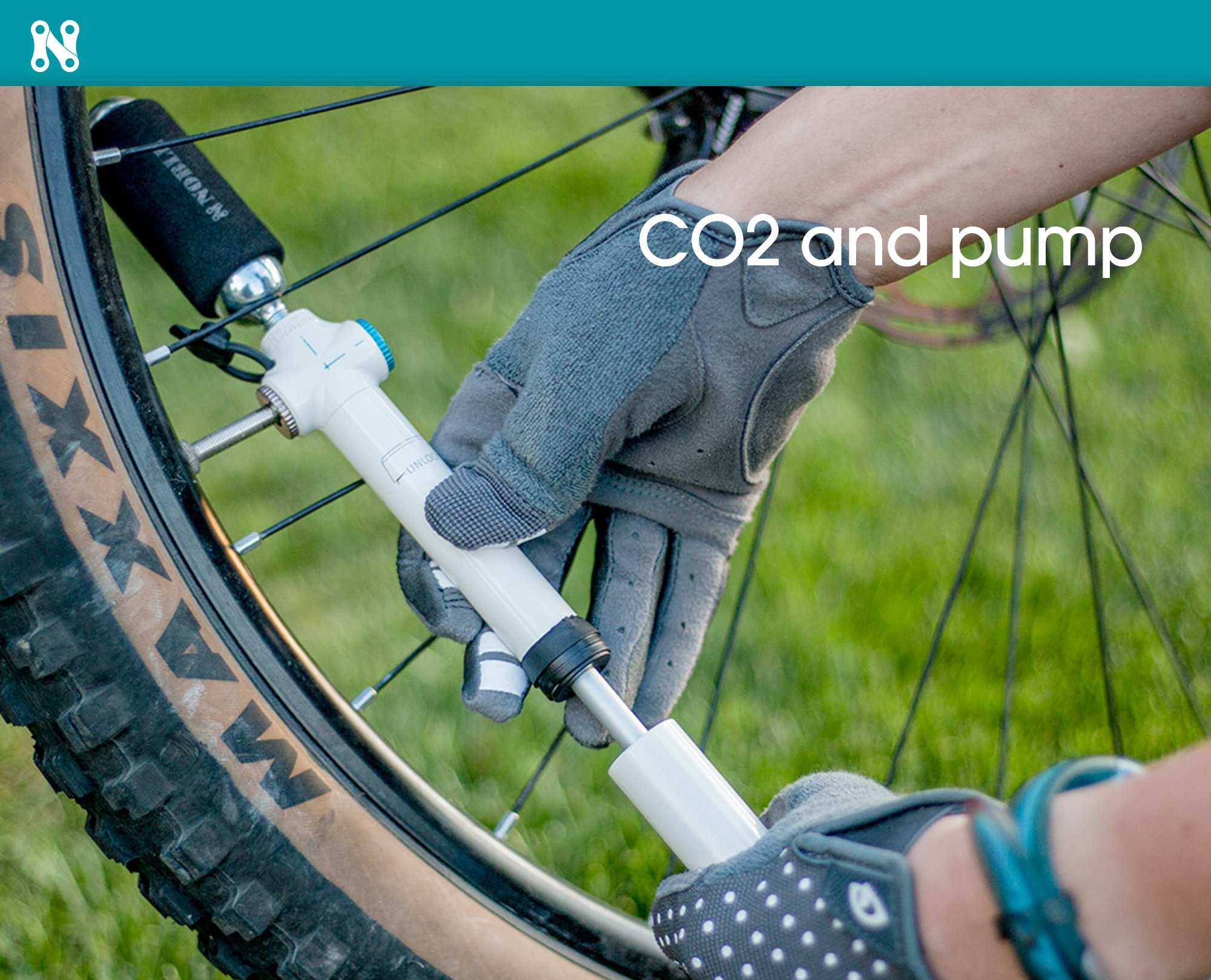 Portable Mini Air Inflator Pump with CO2 Pressure Valve for Bicycle Tire - Small Handheld Tool Fits both Dunlop and Presta Valves - Perfect Bike Accessory to Keep Tires Inflated and on the Road by Noble Cycling (Image #4)