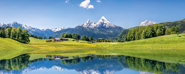 Artland Qualitätsbilder I Glasbilder Deko Glas Bilder 125 x 50 cm Landschaften Berge Foto Blau B6VF Sommer Alpen