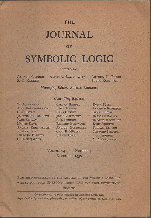 Amazon The Journal Of Symbolic Logic Vol 24 No 4 December