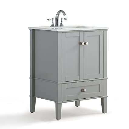 Simpli Home Chelsea Inch Bath Vanity With White Quartz Marble Top - 24 inch bathroom vanity gray