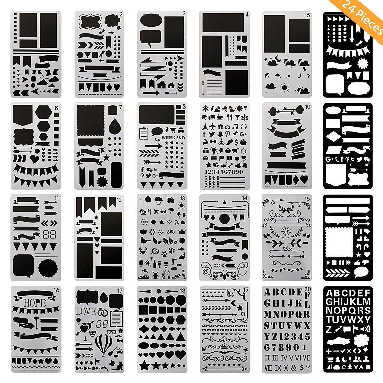 ONEST 24 Pack Journal Stencil Plastic Planner Stencils Journal/Notebook/Diary/Scrapbook DIY Drawing Template Stencil, 4x7 Inch