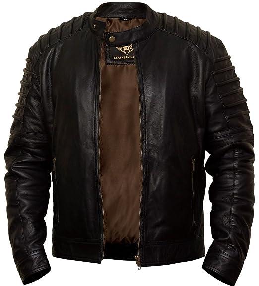 55c8852b6 Mens Real Sheepskin Biker Style Slim Fit Leather Jacket