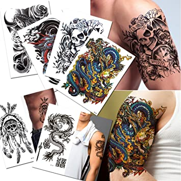 38afd8580 Amazon.com : 6-pack Halloween Skull Fish Dragon Temporary Tattoos Lower  Back Shoulder Neck Arm Temporary Tattoos : Beauty