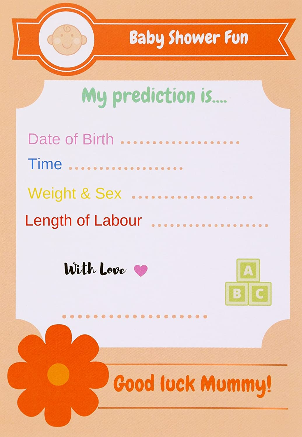 Baby Shower Games Prediction Cards. Unisex, Pack of 10. Juvivir UK