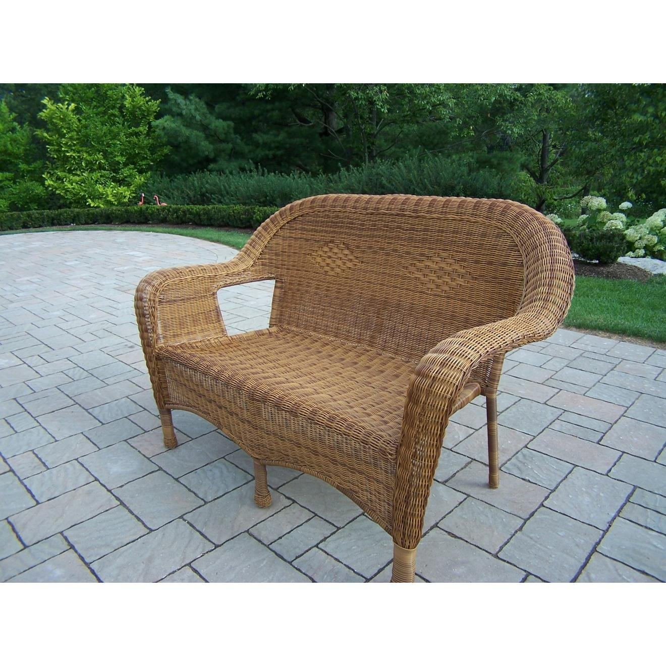Amazon.com : Oakland Living Resin Wicker Loveseat, Natural : Outdoor And Patio  Furniture Sets : Garden U0026 Outdoor