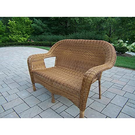 Oakland Living Resin Wicker Loveseat, Natural